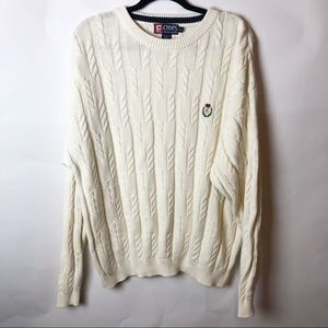 Chaps Ralph Lauren White Cable Knit Sweater